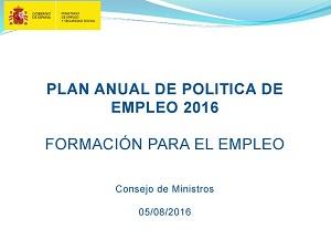 Se aprueba el Plan Anual de Política de Empleo para 2016