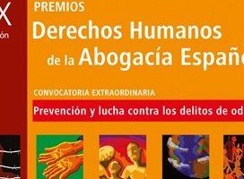 El 17 de septiembre termina el plazo de presentación de candidaturas para la XX edición de los Premios Derechos Humanos de la Abogacía Española